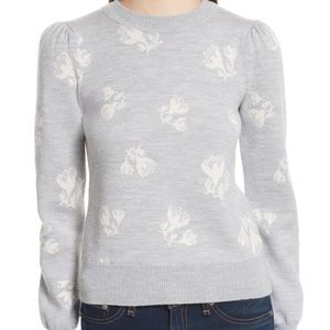 Rebecca Taylor Floral Jacquard Sweater Size S